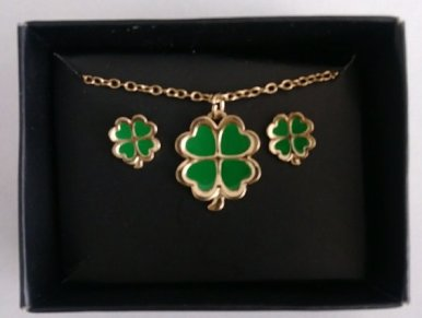 Lucky Clover Necklace and Earring Set