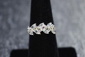 Sterling Silver CZ Marquis Leaf Ring